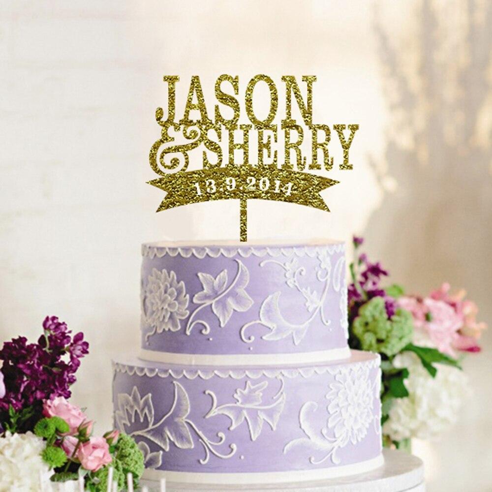 Acrylic Glitter Gold Cake Topper Wedding Decoration Casamento ...