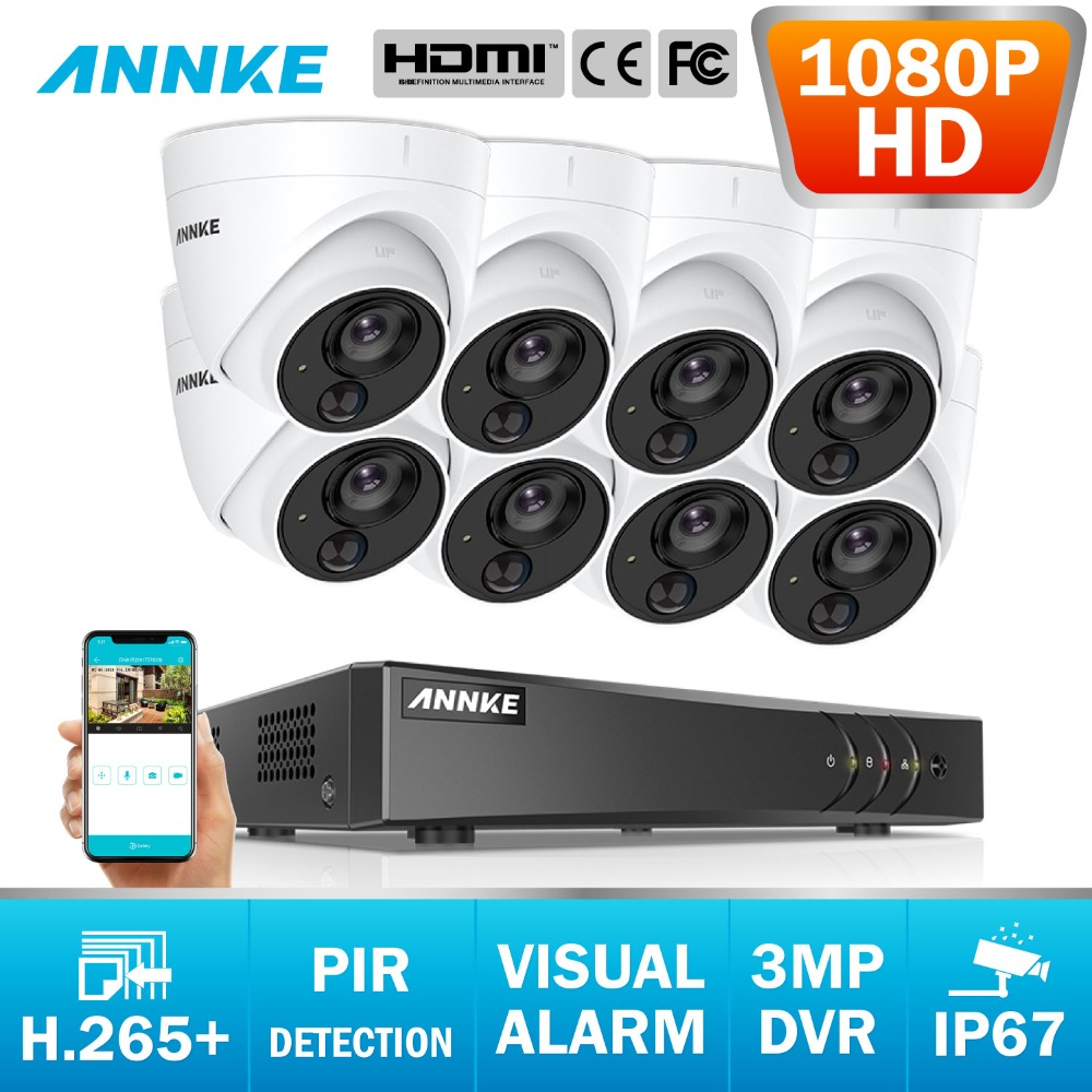ANNKE NEW 8CH HD 3MP 5in1 DVR CCTV 8PCS 1080P TVI Security Camera PIR Detection IP67