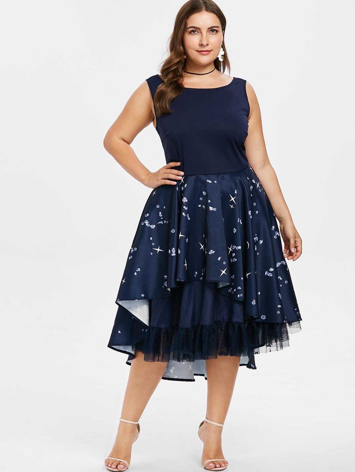 c0dea1545947c CosMera Plus Size Ruffle Rhinestone Pattern Retro Midi Dress Women Vintage  Round Neck Sleeveless Summer Dress Tunic Party Dress