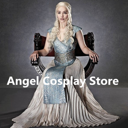 Game of Thrones Song of Ice and Fire Dragon Mother Daenerys Targaryen Fashion Party Uniform Dress Cosplay Costume + wigs