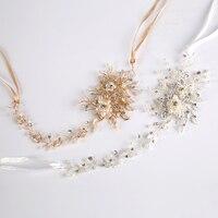 De moda Nupcial cristalino de La Perla Vendas de La Flor para Las Mujeres Hecho A Mano Tiara Tocado Pelo de La Boda Accesorios de La Joyería de Oro y Plata