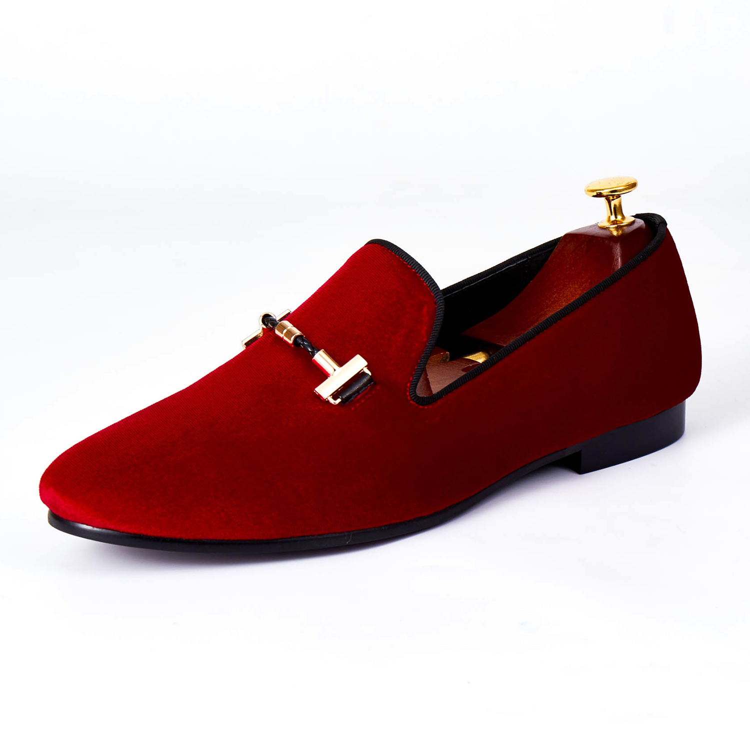 Harpelunde Hot Sell Men Shoes Buckle Strap Formal Shoes Red Velvet Loafers Size 7-14 harpelunde buckle men wedding shoes red velvet dress loafers strap flats shoes size 7 14