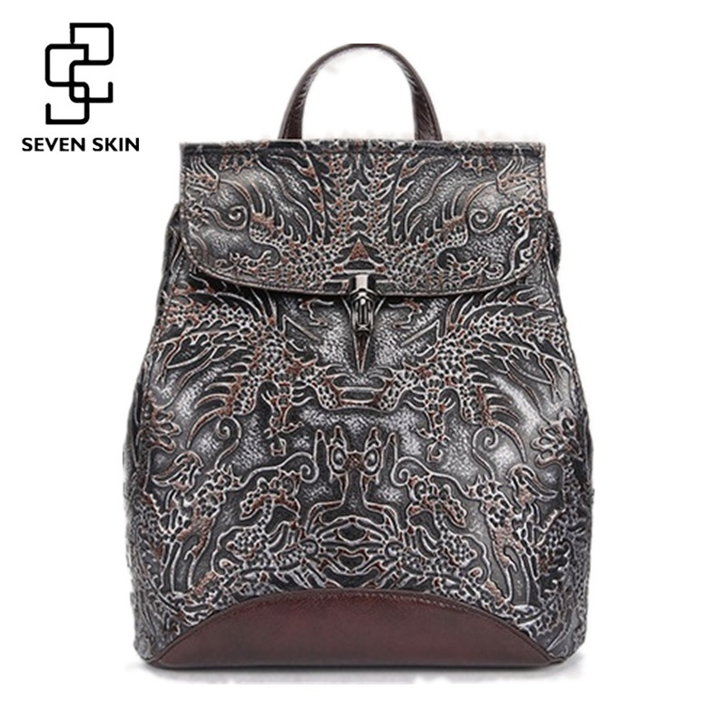 Famous Brand Women Floral Printing Backpack Genuine Leather Women Bags Vintage Design Men Small Laptop Backpacks mochila escolar цена