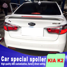 Red stop lamp light punching install big spoiler for KIA K2 rear trunk wing high quality ABS spoilers by primer paint k2