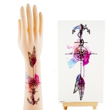 Style Waterproof Temporary Tattoo On Shoulder Arm Dream Catcher Feather Compass Sexy Tattoos Sticker Body Art