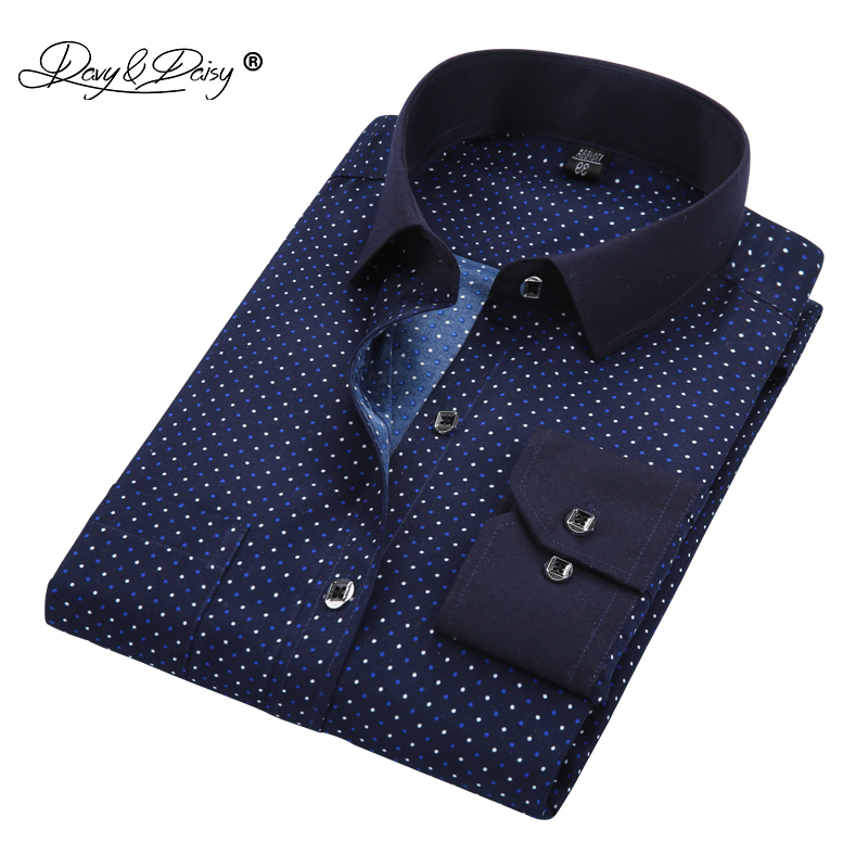 DAVYDAISY Men Shirt Long Sleeved Floral Printing Plaid Casual Male Shirts Brand Clothing Dress Shirt Camisa Masculina DS013