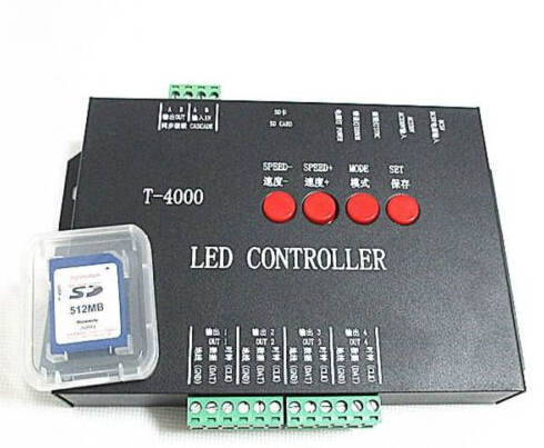 Free Shipping T 4000S SD Card pixel Controller for LED Light with 256MB SD Card