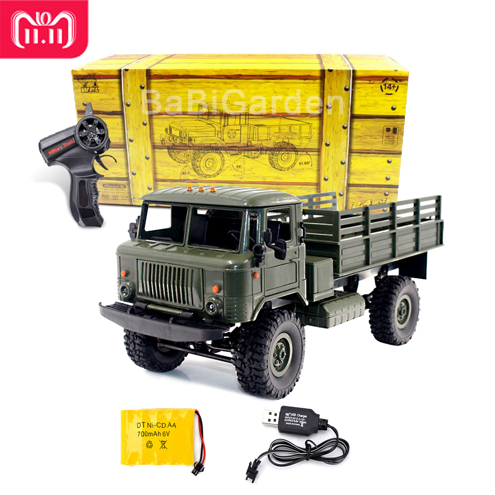 WPL 1/16 GAZ-66 B-24 Control remoto Camión Militar 4 ruedas de tracción fuera de carretera RC modelo de coche Control remoto escalada coche RTR regalo juguete