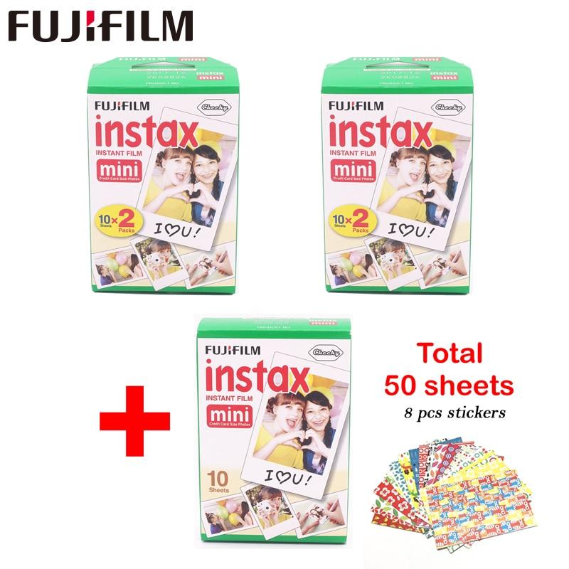 Véritable Fujifilm Instax Mini Film bord blanc 50 feuilles pour Fuji Instax mini 8 7 s 25 50 90 SP1 caméra instantanée Film Photo papier
