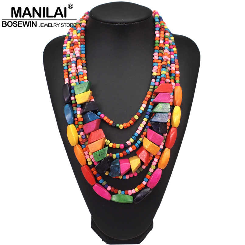MANILAI Bohemian Multilayer Wood Bead Choker Necklaces For Women Handmade Beaded Statement Necklace Jewelry 8 Colors