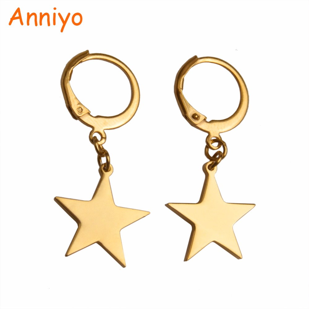 Anniyo Gold Color Star Earrings for Women/Girls/Baby,Metal Fashion Jewelry Birthday Party Gifts #027921 colors fashion metal acrylic earrings color assorted 5 pair pack