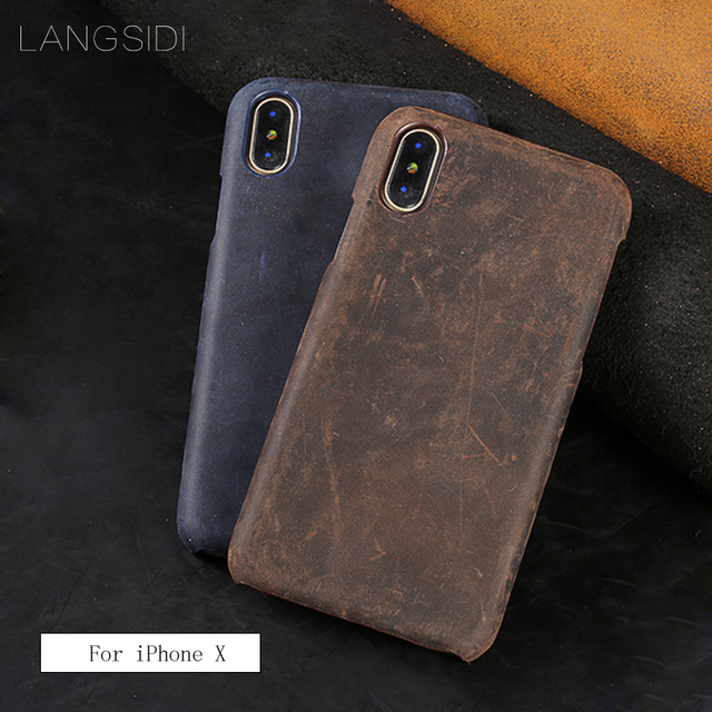 LANGSIDI For iPhone X case handmade Genuine Cow Leather custom mobile phone cover case to send phone glass steel film