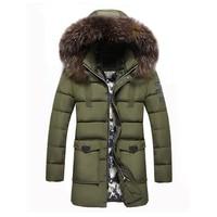 Long Hooded Fur Collar Thick Warm Parkas men 2017 Casual Outdoors Windproof Outerwear Male Jackets Winter Jacket Men Coat