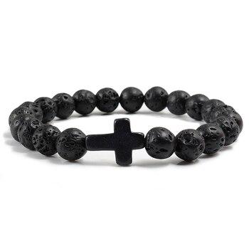 Trendy Jesus Cross Charm Blue Turquoises Men Bracelet Black Lava Stone 8mm White Beads Bracelets Bangles for Women Yoga Jewelry