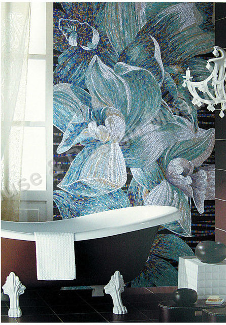 Mural Wall Art Design Blue Flower Glimmer Ice Jade Glass mosaic tile ...