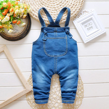 2016 autumn new trend casual denim overalls clothing for boys and girls long pants children clothes