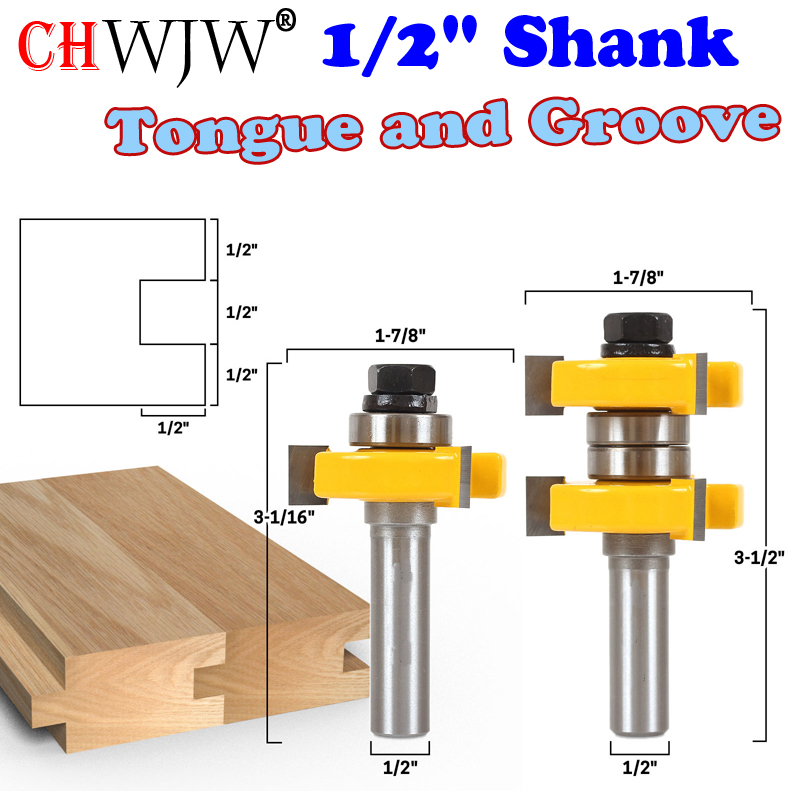 2pc 1/2 Shank high quality Tongue and Groove Joint Assembly Router Bit Set  1-1/2 Stock Wood Cutting Tool  - Chwjw 2pcs high quality 1 4 shank tongue