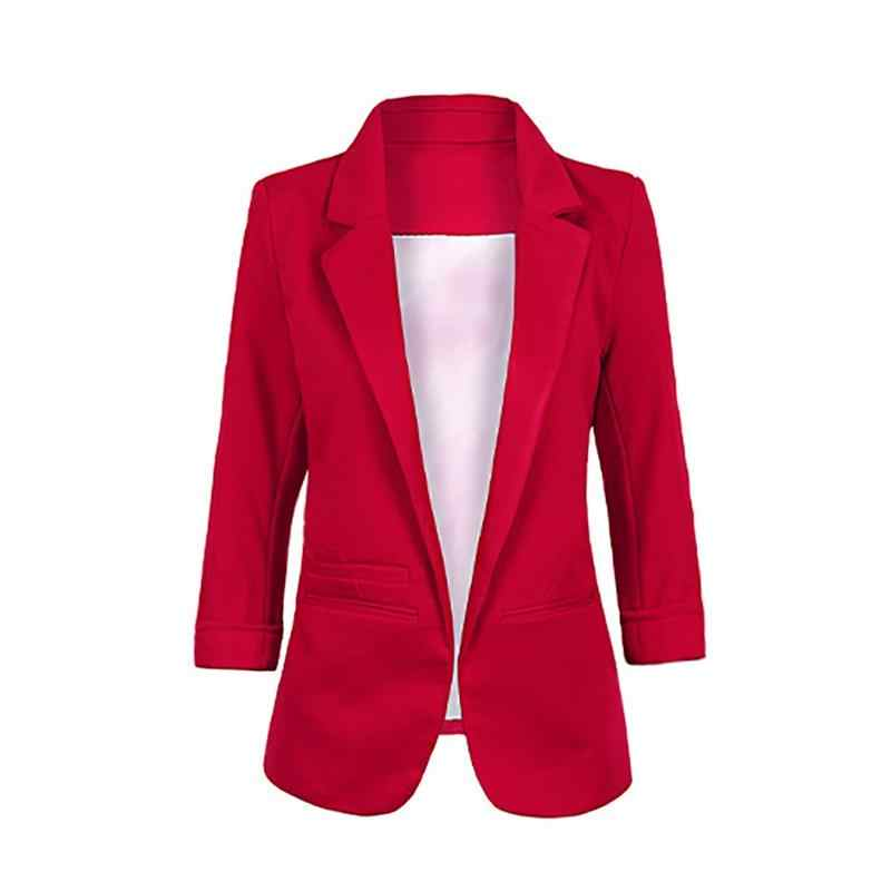 f27a8b215 Three Color Available 3/4 Sleeves Roll-up Sleeves Blazer Jacket Splicing  Contrast Color