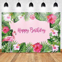 Mehofoto Flamingo Backdrop Birthday Party Background Pink Folral Photo Spring Banner Photography backdrop