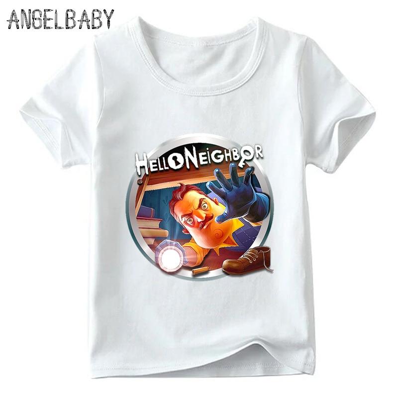 Los niños de la historieta Hola vecino juego patrón camiseta niñas Verano de manga corta Camiseta niños Casual ropa divertida, HKP5225