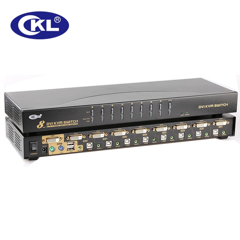 CKL 8 Port USB PS/2 DVI KVM Switch Support Audio Auto Scan PC Monitor Keyboard Mouse DVR NVR Switcher 1080P (CKL-9138D)