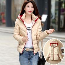 Снег носить ватные куртки женщины 2016 осень зима куртка женщин тонкий короткий хлопок-ватник верхняя одежда зимнее пальто женщин