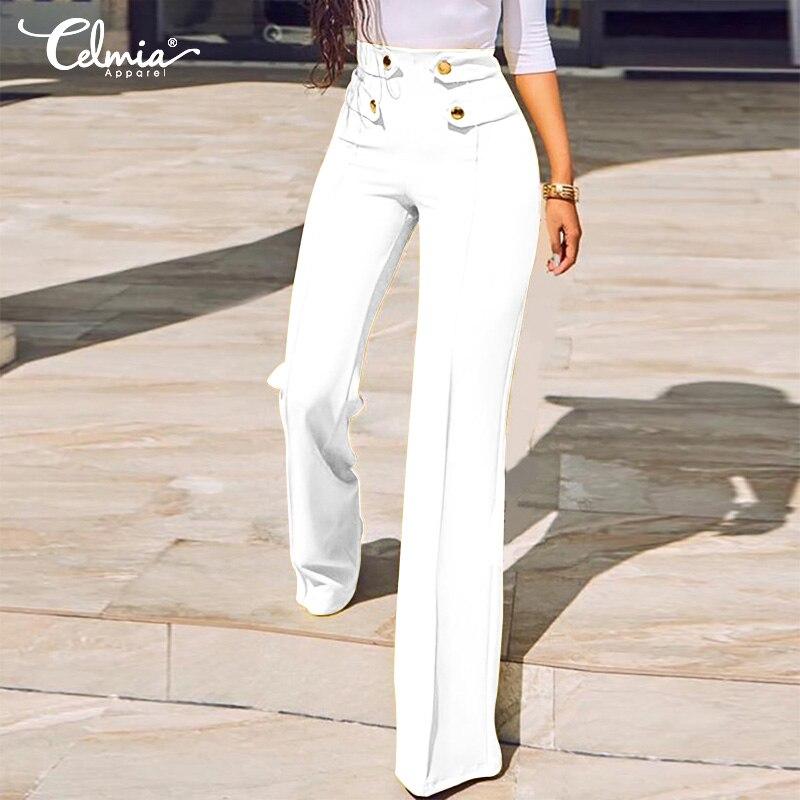 Casual   Wide     Leg     Pants   High Waist Straight   Pants   Plus Size Bottom Women 2019 Celmia Autumn Solid Elastic Office Work Trousers 5XL