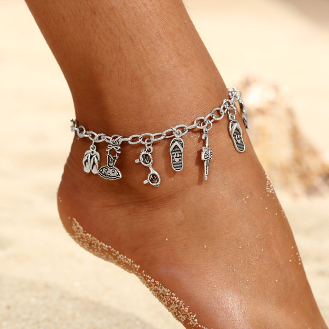 e1343492e5af Boho Anklet Foot Chain Ankle Summer Bracelet Charm Anklet Tibetan Silver  Tassel Sandals Barefoot Beach Foot Bridal Jewelry Gift