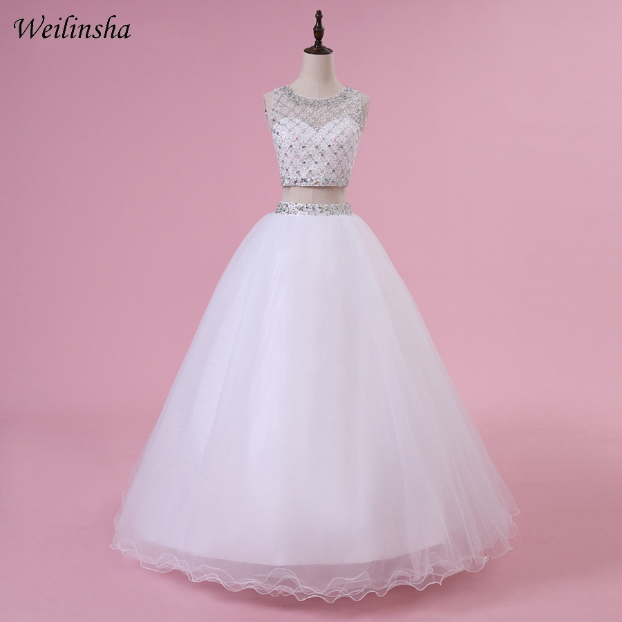 138cd33d68d Weilinsha Real Photo Crop Top Quinceanera Dress Beading Crystal Ball Gown  Two Piece Prom Party Gowns
