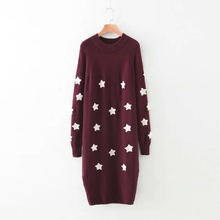 2016 autumn and winter European and American style new loose five-pointed star embroidery long hedging base sweater