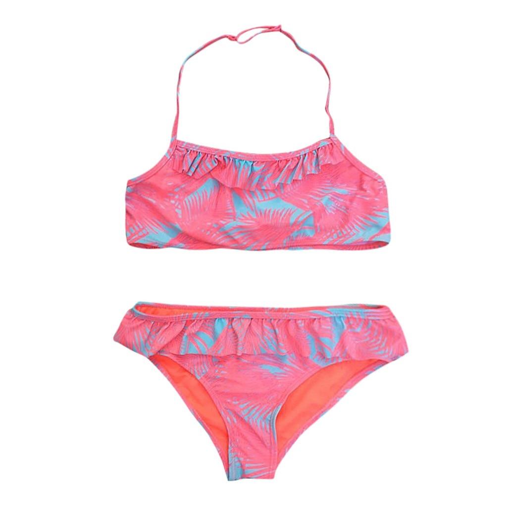 2 Stücke Kinder Baby Mädchen Geraffte Drucken Bikini Set Bademode Badeanzug Bade Kleidung Kostüm Da Bagno Pro Bambini Festsetzung Der Preise Nach ProduktqualitäT