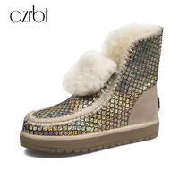 CZRBT Plus Size Snow Boots Women Boots Genuine Sheepskin Ankle Boots 100 Real Fur Classic Mujer