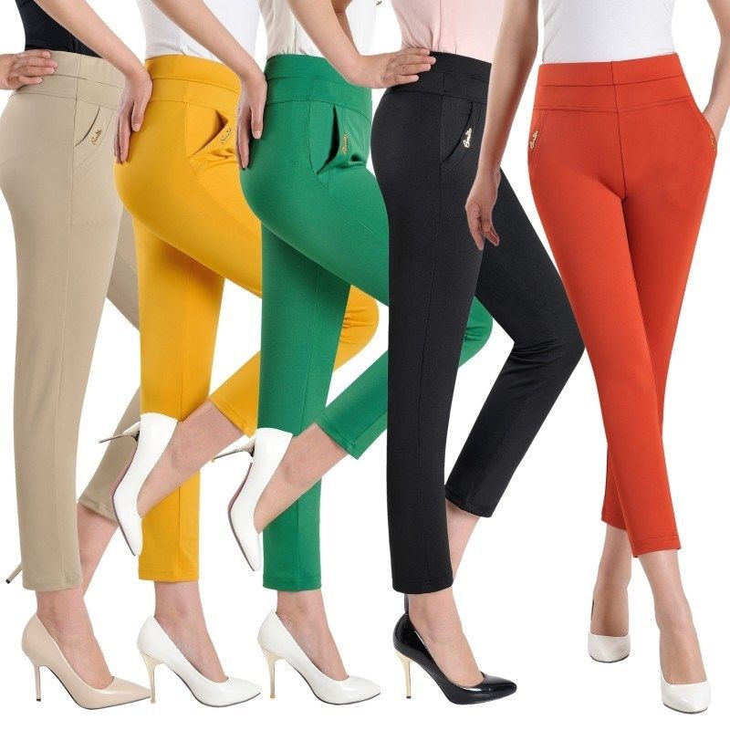 5XL Summer Pants Women Elastic Slim High Waist Pants Female Trousers Women Casual Plus Size Office Ladies Pants Streetwear Q1418
