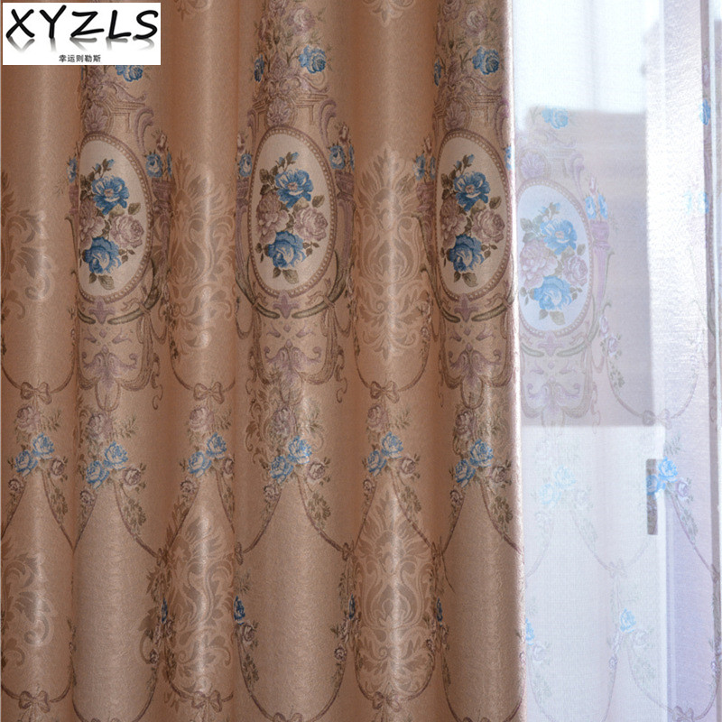 XYZLS European Luxury Jacquard Blinds Shade Blackout Curtains and Tulle Curtain for Living Room Bedroom Window Treatment Drapes