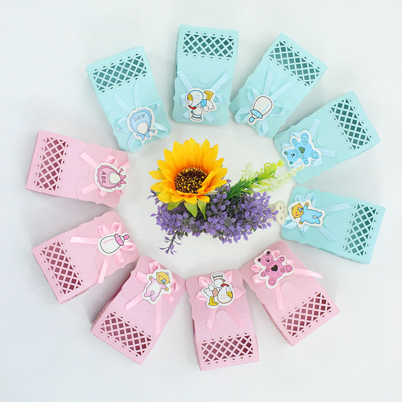 AVEBIEN Cute Baby Shower Candy box Party Supplies Favor Boxes Boy Girl Paper Baptism Kid Favors Gift Bags Choocolate Container in Gift Bags Wrapping Supplies from Home Garden
