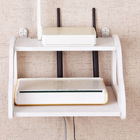 Decorative Wall Shelf White Storage Home Wifi Router Shelf Wall Mounted TV Set Up Box Storage