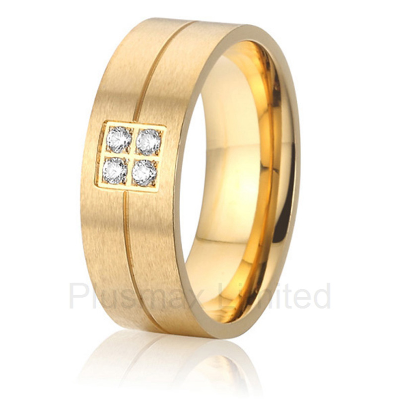 Anel Free Global delivery womens jewelry gold color four stone prong setting cheap pure titanium wedding band rings high quality