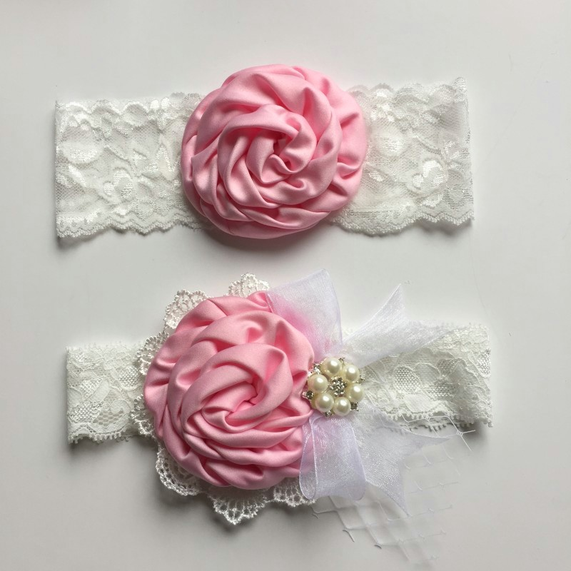 1set/lot Satin Flower Matching Handmade Lace Bow Headband Baby Headband Luxe Headband