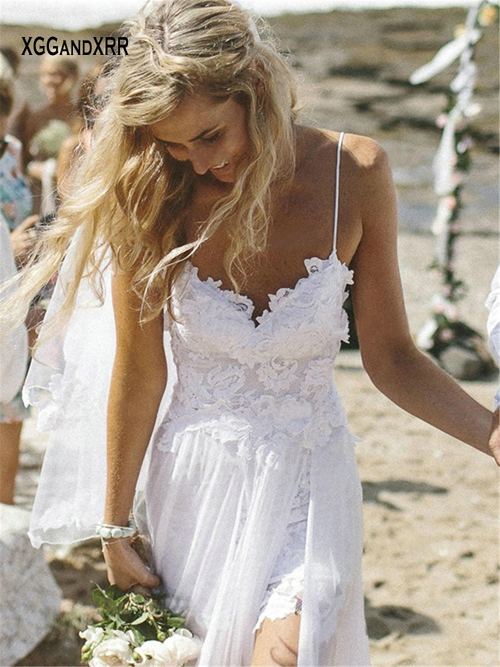 Spaghetti Straps White Chiffon Front Slit Beach Wedding Dress with Lace Elegant Open Back Bridal Dress Boho Wedding Dress