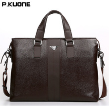 P.KUONE Genuine Leather Briefcase Men business  Messenger Bags 2017 New Design High Quality Luxury Brand Handbag Casual Travel L