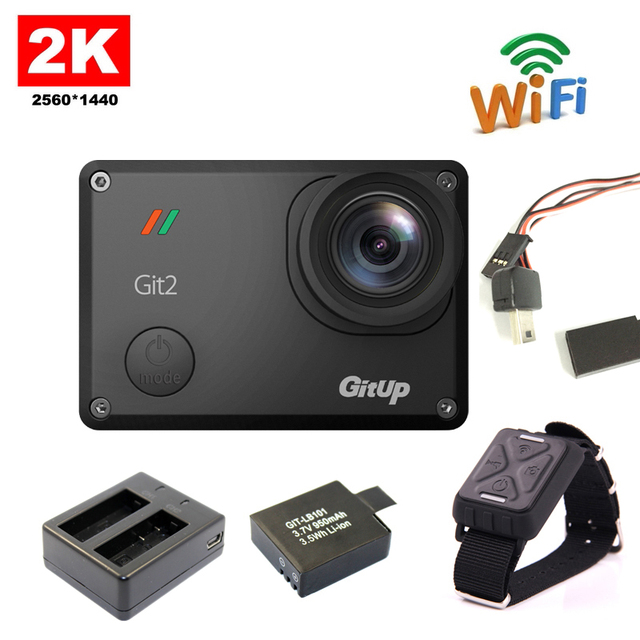 Original Gitup Git2 Novatek 96660 1080P WiFi 2K Outdoor Sports Action Camera+Extra 950mAh Battery+Dual Battery Charger+FPV Cable