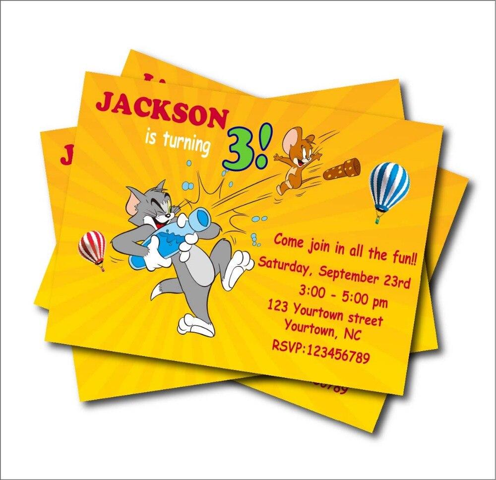 4 9 40 De Descuento 14 Piunids Lote Tom Jerry Invitaciones De Fiesta De Cumpleaños Baby Shower Invitación Personalizada Fiesta De Cumpleaños