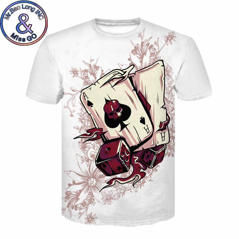 العلامة التجارية بوكر تي شيرت الرجال النساء اللعب بطاقات الملابس القمار قمصان مضحك 3D التي شيرت الرجال الهيب هوب الشارع الشهير أعلى المحملة قميص أوم