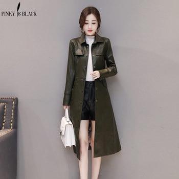 PinkyIsBlack 2019 Fashion Long Single Breasted Autumn Female Leather Jacket Women Winter Plus Size 5XL Faux Trench Coat