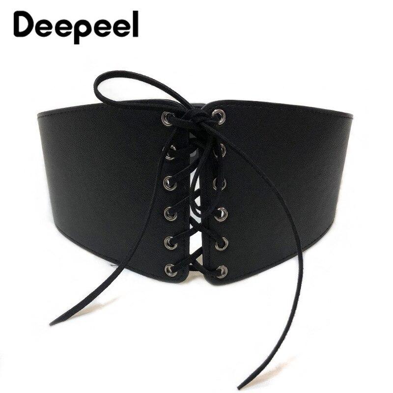 Deepeel 1pc Vintage Stretch Elastic Waist Cummerbunds Imitation Leather Wide Belt Shirt Dress Ladies Decorative Craft Accessory