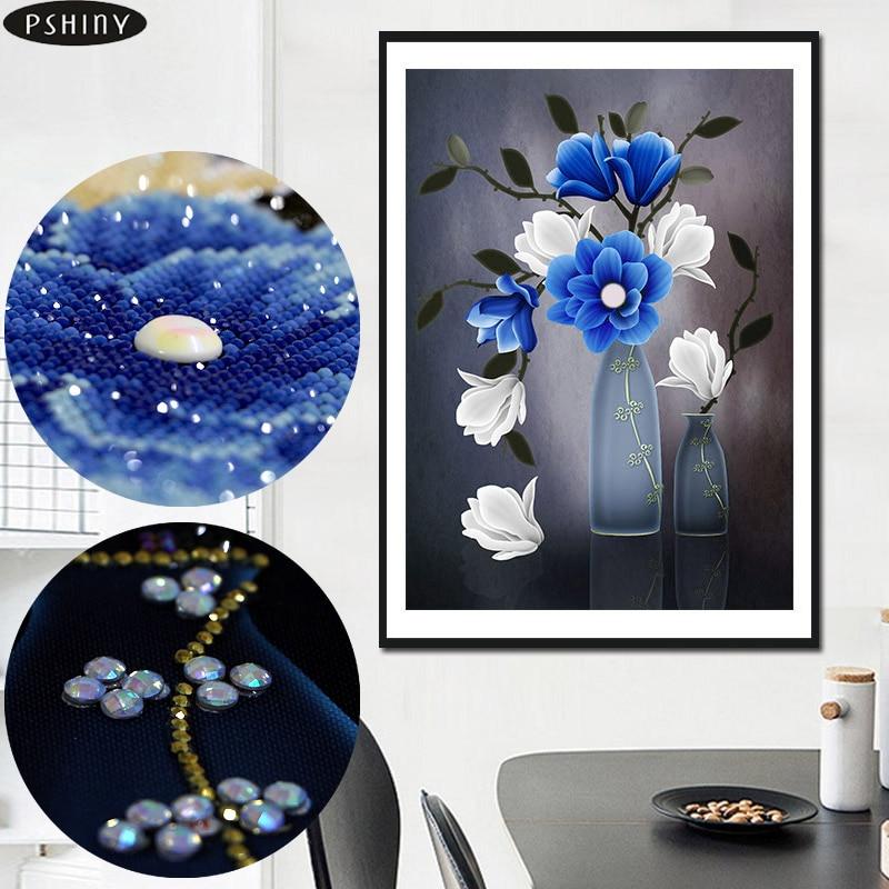 5d Acasă DIY diamante broderie floare vaza cruce cusatura Partea - Arte, meșteșuguri și cusut