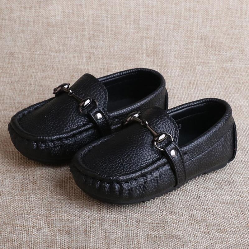 SKHEK Autumn Boys Microfiber Leather Casual Loafers Baby/Toddler/Little Kid Black White Flats Children School Uniform Dress Shoe-in Leather Shoes from Mother & Kids