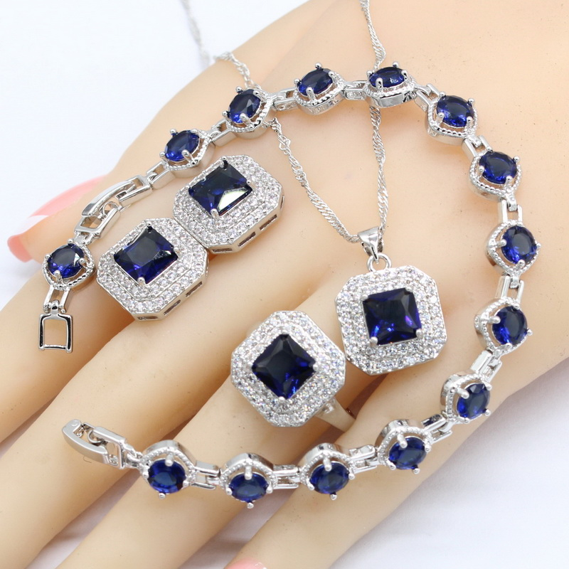 Jewelry & Accessories Silver Color Bridal Jewelry Sets For Women Square Shape Dark Blue Semi-precious Necklace Pendant Earrings Ring Bracelet Regular Tea Drinking Improves Your Health Wedding & Engagement Jewelry
