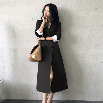 Trench Coat For Women Double Breasted X-Long Korea Style Slim Leisure Duster Coat Office Lady Women's Coats