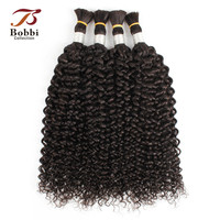 Bobbi Collection Jerry Curly Hair Bulk Human Hair for Braiding Natural Color Indian Remy Human Braiding Hair Bulk Extensions